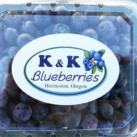 a package of blueberries with a k and k blueberries label
